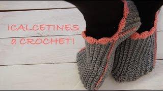getlinkyoutube.com-Calcetines de bolsillo a CROCHET. Acanalados I Ribbed Pocket Socks (ENGLISH SUB ) Cucaditasdesaluta