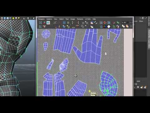 Autodesk Maya 2012 Tutorial- Low Polygon Game Character Part 5- UV Unwrapping