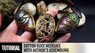 getlinkyoutube.com-DIY How to make Unique Sutton Slice Necklace with Author's Assembling. Polymer clay Jewelry