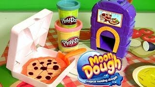 getlinkyoutube.com-Pizzeria Moon Dough Pan Pizza Playset with Magical Oven Toy - Play Doh Kitchen Baking Toy