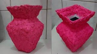 getlinkyoutube.com-Como fazer acabamento de vaso com papel crepom - vaso de caixa de leite!