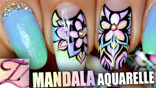 getlinkyoutube.com-Nail art mandala aquarelle : tuto débutants + confirmés