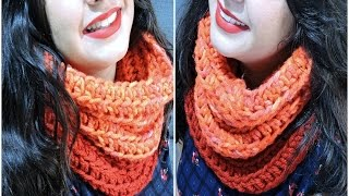 getlinkyoutube.com-Cuello de ganchillo fácil - Easy crochet infinity scarf