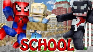 Minecraft School | Military School of Mods - SPIDERMAN SAVES ELSA!