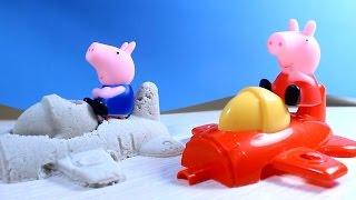 getlinkyoutube.com-Свинка Пеппа Peppa Pig. Пеппа и Джордж делают самолётик из песка. Развивающий мультик.