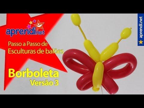 Aprendi.net: Esculturas de Balões - Borboleta - Versão 3