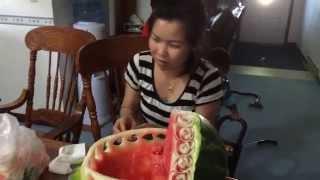 getlinkyoutube.com-Lao Song: Fruit Carving Baby Bassinet for Baby Shower ຮຽນແກະສະຫຼັກໝາກໄມ້
