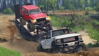 getlinkyoutube.com-GMC Dually 4x4 Towing Challenge! Hauling Jeep Cherokee, Off-Roading, Mudding! (SpinTires)
