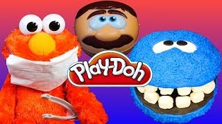 getlinkyoutube.com-Cookie Monster Gets Teeth by Play Doh Doctor Drill N Fill Playset Sesame Street Elmo Dentist!