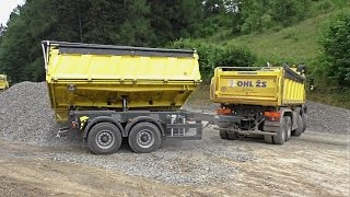 Mercedes Arocs 8x6 unloading with trailer