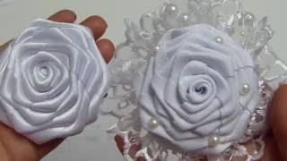 Como elaborar la Flor  Rococo grande para una tiara de bautizo, video #539, Flores Liston faciles