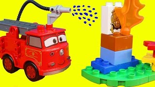 getlinkyoutube.com-Disney Pixar Cars Lego Duplo Red Puts Out Fire Lightning McQueen Mater Just4fun290 Toys Fire Truck