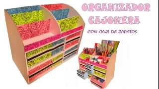 getlinkyoutube.com-organizador multiusos  con caja de zapatos y carton - multipurpose organizer boxes