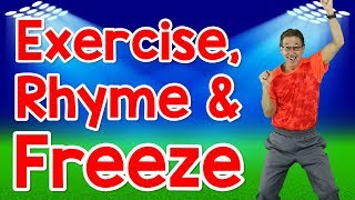 Exercise, Rhyme and Freeze   Rhyming Words for Kids   Exercise Song   Jack Hartmann width=