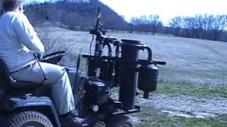 getlinkyoutube.com-Wood Gas Lawn Tractor Start and Drive