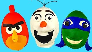 getlinkyoutube.com-GIANT SURPRISE EGGS EPISODE! Disney Frozen Teenage Mutant Ninja Turtle Angry Birds Play Doh
