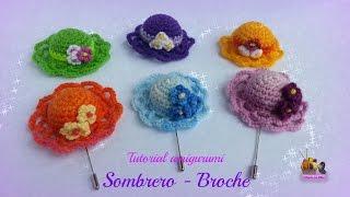 getlinkyoutube.com-Tutorial amigurumi - Sombrero (broche)