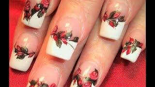 getlinkyoutube.com-Red Rose Nails | DIY Elegant Flower Roses Nail Art Design Tutorial