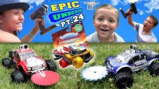 getlinkyoutube.com-Monster Trucks Attack Golden Hot Streak! Epic Unboxing Part 24 (Skylanders Superchargers Fun!)