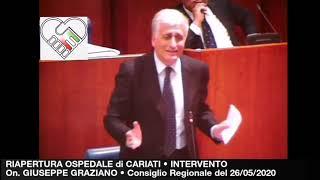 CONSIGLIO REGIONALE GRAZIANO SU RIAPERTURA OSPEDALE DI CARIATI