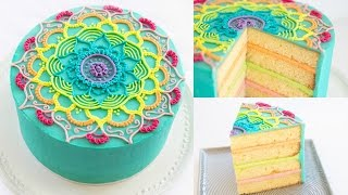 getlinkyoutube.com-Rainbow Mandala Buttercream Cake Decorating Tutorial - CAKE STYLE