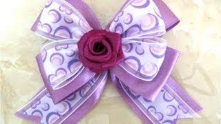 getlinkyoutube.com-Moños de rosas con cintas para el cabello