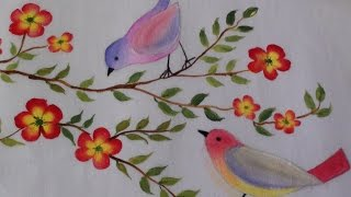 getlinkyoutube.com-Birds and flowers fabric painting - tutorial 14