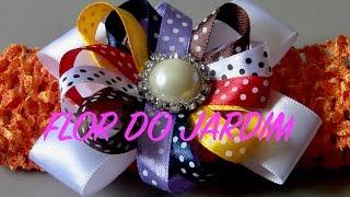 getlinkyoutube.com-Laço com com flor de fitas fina- Ribbon Bow