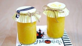 getlinkyoutube.com-Halloween Pumpkin Pudding in Reused SAKE Cups ハロウィン かぼちゃプリン 自然に二層に分かれる リサイクル瓶