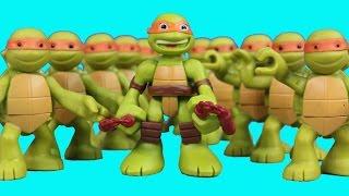 getlinkyoutube.com-Teenage Mutant Ninja Turtles Half Shell Heroes TMNT Mikey Replica Robot Battle Shredder Clay Face