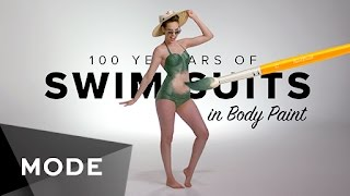 getlinkyoutube.com-100 Years of Swimwear in Body Paint ★ Mode.com