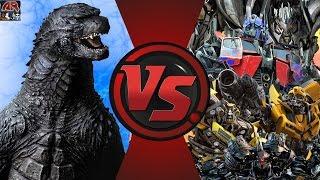 getlinkyoutube.com-GODZILLA vs TRANSFORMERS! TOTAL WAR! (Godzilla vs Optimus Prime 3) Cartoon Fight Club Episode 126