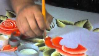 getlinkyoutube.com-Ensinando a pintar Rosas no tecido