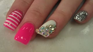 Acrylic nails and nail art design tutorials simple step by step glitter nails prinsesfo Images
