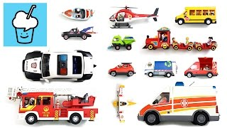 getlinkyoutube.com-learning street vehicles name and sound for kids with playmobil プレイモービル fire truck police ambulance