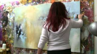 "getlinkyoutube.com-Abstract acrylic painting Demo - Abstrakte Malerei ""Windgeflüster"" by Zacher-Finet"
