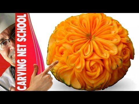 Lesson 20, Carving, การแกะสลักผลไม้, 水果雕刻, Ukiran buah, 果物のカービング, Khắc trái cây, naik ukiran, 조각 장미