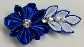 DIY Kanzashi flower hairclip,how to make, kanzashi flower tutorial,kanzashi flores de cinta