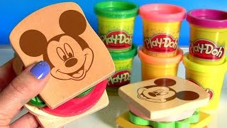getlinkyoutube.com-Mickey Mouse Clubhouse Wooden Sandwich Maker Make Play Doh Sandwiches & Hamburgers Disney Kids Toys