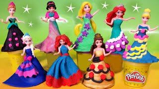 getlinkyoutube.com-PLAY DOH Sparkle dresses 8 Disney Princess Magiclip dolls Elsa Anna Glitter Glider Ariel Rapunzel