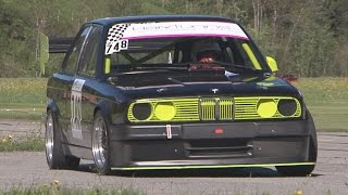 getlinkyoutube.com-FAST BMW 325 E30 with 3.0 Engine, Side Pipe, Sequential Gearbox, onboard St-Ursanne - Les Rangiers