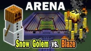 getlinkyoutube.com-Minecraft Arena Battle Snow Golem vs. Blaze