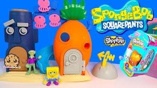 getlinkyoutube.com-Spongebob Squarepants Bikini Bottom Squidward Playset Toy + Shopkins Season 3 Blind Bag