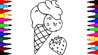 Learn Coloring SQUISHY ICE CREAM - Coloring Pages Videos For Children - Learning Colors