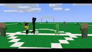 Villagers vs mobs soccer - minecraft animation