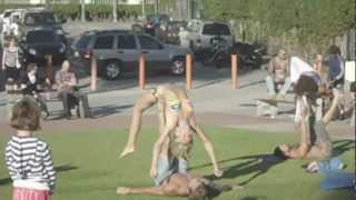 getlinkyoutube.com-Beautiful blond girl in mini-bikini doing gymnastic at the beach