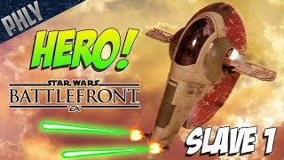 SLAVE 1 HERO POWER UP! Star Wars Battlefront Gameplay