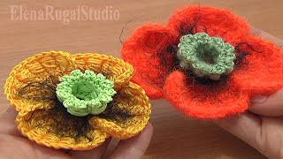 getlinkyoutube.com-Crochet Poppy Flower Tutorial 68 Part 2 of 3 Bullion Block Stitch Flower
