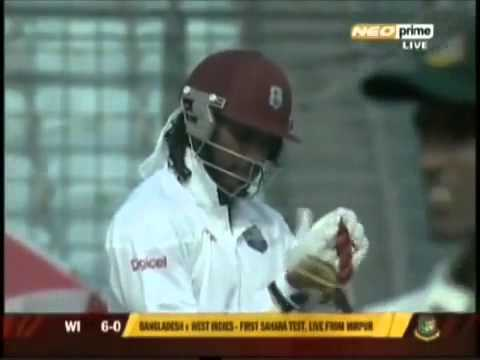 Chris Gayle Six off the first ball in a test match