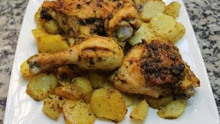 Poulets au four a la marocaine  .... دجاج في الفرن بالشرمولة المغربية